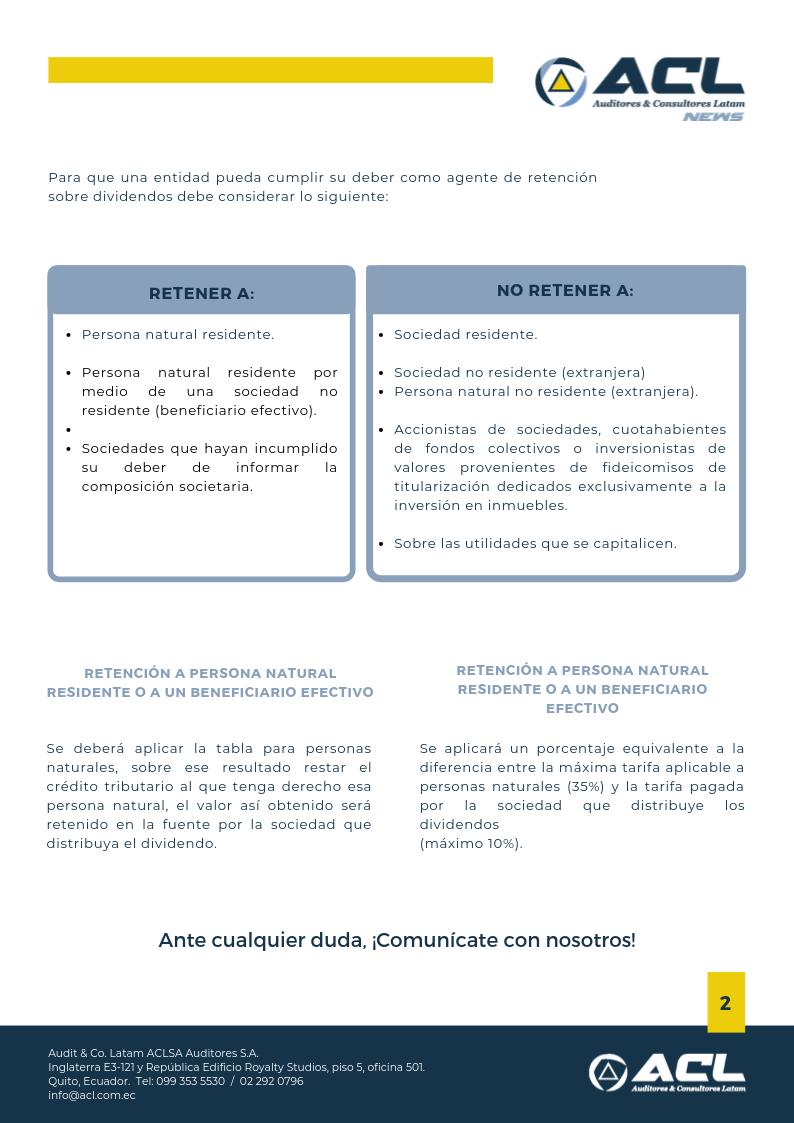 Normas para el tratamiento tributario en la distribución de dividendos.