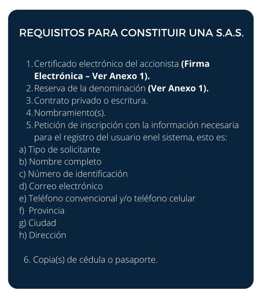 REQUISITOS PARA CONSTITUIR UNA S.A.S.